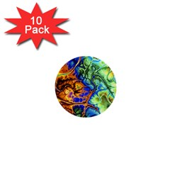 Abstract Fractal Batik Art Green Blue Brown 1  Mini Buttons (10 Pack)  by EDDArt