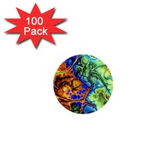 Abstract Fractal Batik Art Green Blue Brown 1  Mini Buttons (100 Pack)  by EDDArt