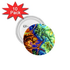 Abstract Fractal Batik Art Green Blue Brown 1 75  Buttons (10 Pack) by EDDArt
