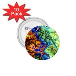 Abstract Fractal Batik Art Green Blue Brown 1.75  Buttons (10 pack)