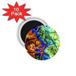 Abstract Fractal Batik Art Green Blue Brown 1.75  Magnets (10 pack)