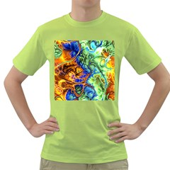 Abstract Fractal Batik Art Green Blue Brown Green T Shirt