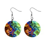 Abstract Fractal Batik Art Green Blue Brown Mini Button Earrings