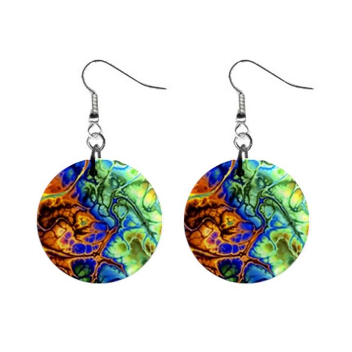 Abstract Fractal Batik Art Green Blue Brown Mini Button Earrings