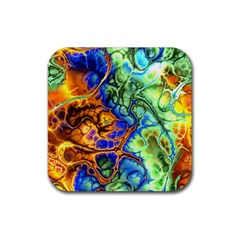 Abstract Fractal Batik Art Green Blue Brown Rubber Square Coaster (4 Pack)  by EDDArt