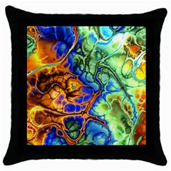 Abstract Fractal Batik Art Green Blue Brown Throw Pillow Case (black) by EDDArt