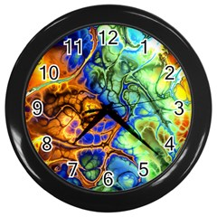 Abstract Fractal Batik Art Green Blue Brown Wall Clocks (black) by EDDArt
