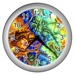 Abstract Fractal Batik Art Green Blue Brown Wall Clocks (silver)  by EDDArt