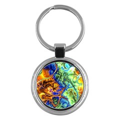 Abstract Fractal Batik Art Green Blue Brown Key Chains (round)  by EDDArt