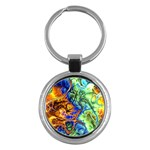 Abstract Fractal Batik Art Green Blue Brown Key Chains (Round)