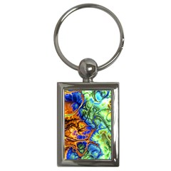 Abstract Fractal Batik Art Green Blue Brown Key Chains (rectangle)  by EDDArt