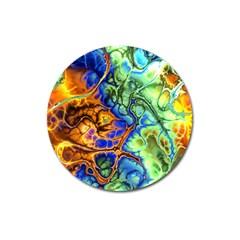 Abstract Fractal Batik Art Green Blue Brown Magnet 3  (round) by EDDArt