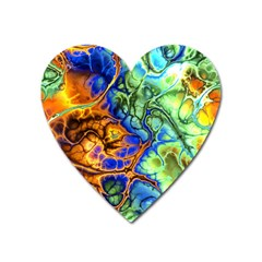 Abstract Fractal Batik Art Green Blue Brown Heart Magnet by EDDArt