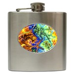 Abstract Fractal Batik Art Green Blue Brown Hip Flask (6 oz)