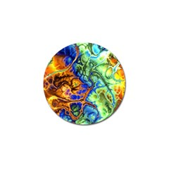Abstract Fractal Batik Art Green Blue Brown Golf Ball Marker by EDDArt
