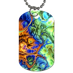 Abstract Fractal Batik Art Green Blue Brown Dog Tag (two Sides) by EDDArt