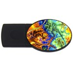 Abstract Fractal Batik Art Green Blue Brown USB Flash Drive Oval (2 GB)