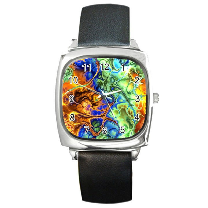 Abstract Fractal Batik Art Green Blue Brown Square Metal Watch
