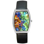 Abstract Fractal Batik Art Green Blue Brown Barrel Style Metal Watch