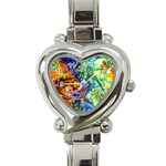 Abstract Fractal Batik Art Green Blue Brown Heart Italian Charm Watch