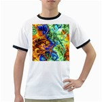Abstract Fractal Batik Art Green Blue Brown Ringer T-Shirts