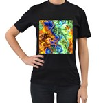 Abstract Fractal Batik Art Green Blue Brown Women s T-Shirt (Black) (Two Sided)