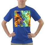 Abstract Fractal Batik Art Green Blue Brown Dark T-Shirt