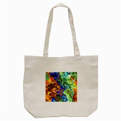 Abstract Fractal Batik Art Green Blue Brown Tote Bag (cream) by EDDArt