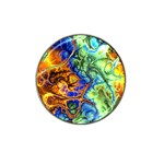 Abstract Fractal Batik Art Green Blue Brown Hat Clip Ball Marker (4 pack) Front