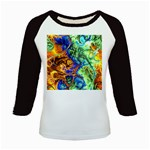 Abstract Fractal Batik Art Green Blue Brown Kids Baseball Jerseys