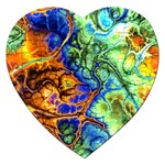 Abstract Fractal Batik Art Green Blue Brown Jigsaw Puzzle (Heart)