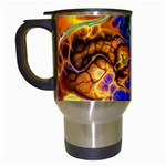 Abstract Fractal Batik Art Green Blue Brown Travel Mugs (White)