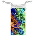 Abstract Fractal Batik Art Green Blue Brown Jewelry Bags Back
