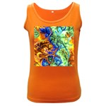 Abstract Fractal Batik Art Green Blue Brown Women s Dark Tank Top