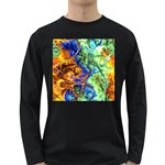 Abstract Fractal Batik Art Green Blue Brown Long Sleeve Dark T-Shirts