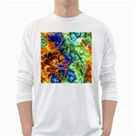 Abstract Fractal Batik Art Green Blue Brown White Long Sleeve T-Shirts
