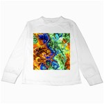 Abstract Fractal Batik Art Green Blue Brown Kids Long Sleeve T-Shirts