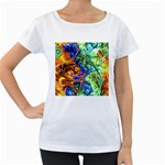 Abstract Fractal Batik Art Green Blue Brown Women s Loose-Fit T-Shirt (White)