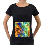 Abstract Fractal Batik Art Green Blue Brown Women s Loose-Fit T-Shirt (Black)