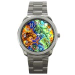 Abstract Fractal Batik Art Green Blue Brown Sport Metal Watch Front