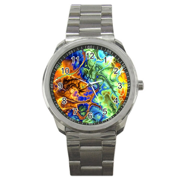 Abstract Fractal Batik Art Green Blue Brown Sport Metal Watch