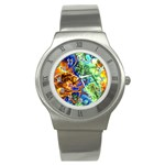 Abstract Fractal Batik Art Green Blue Brown Stainless Steel Watch