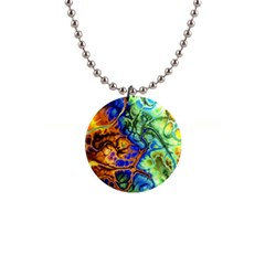 Abstract Fractal Batik Art Green Blue Brown Button Necklaces