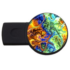 Abstract Fractal Batik Art Green Blue Brown Usb Flash Drive Round (4 Gb)  by EDDArt