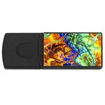 Abstract Fractal Batik Art Green Blue Brown USB Flash Drive Rectangular (4 GB)