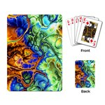 Abstract Fractal Batik Art Green Blue Brown Playing Card