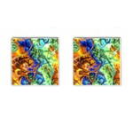 Abstract Fractal Batik Art Green Blue Brown Cufflinks (Square)