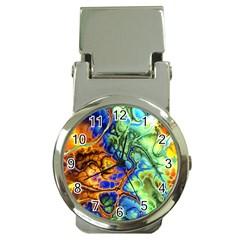 Abstract Fractal Batik Art Green Blue Brown Money Clip Watches