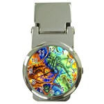Abstract Fractal Batik Art Green Blue Brown Money Clip Watches