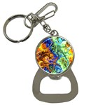 Abstract Fractal Batik Art Green Blue Brown Bottle Opener Key Chains